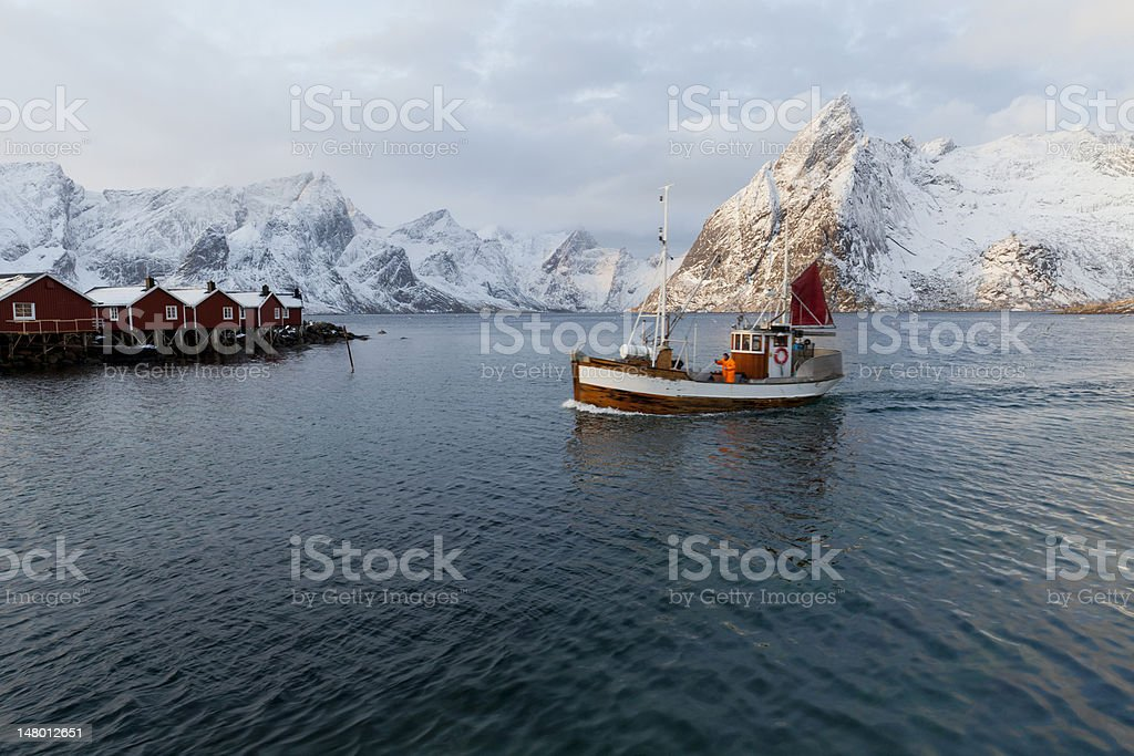 Hamnoy Fishing Boat royalty-free stock photo