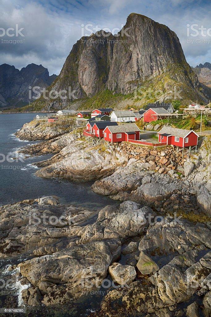 Hamnoy Fishing Village, Lofoten, Norway stock photo