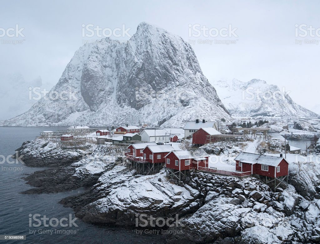 Hamnoy in Winter stock photo