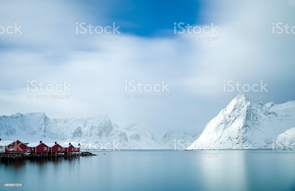 Hamnøy Harbour, Lofoten Islands stock photo