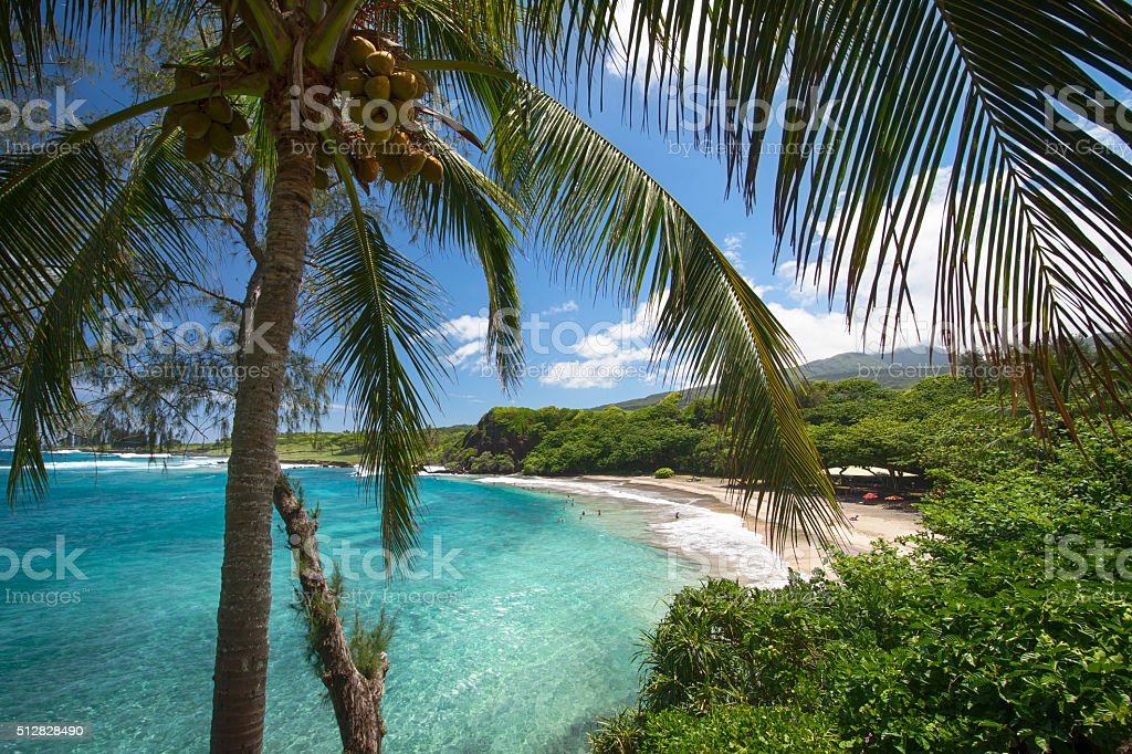 Hamoa Beach near, Hana, East side of Maui, Hawaii stock photo
