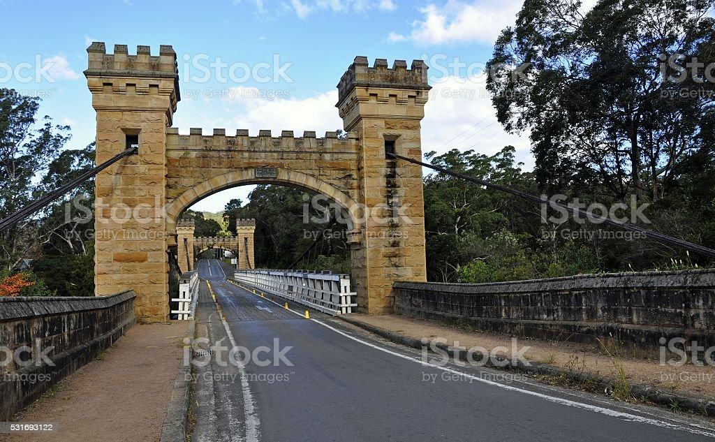 Hampden suspension bridge stock photo