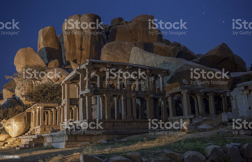 Hampi at night stock photo
