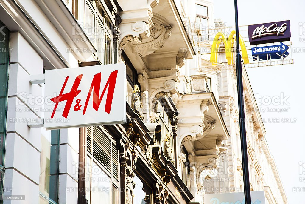 H&M and McDonald's sign stock photo