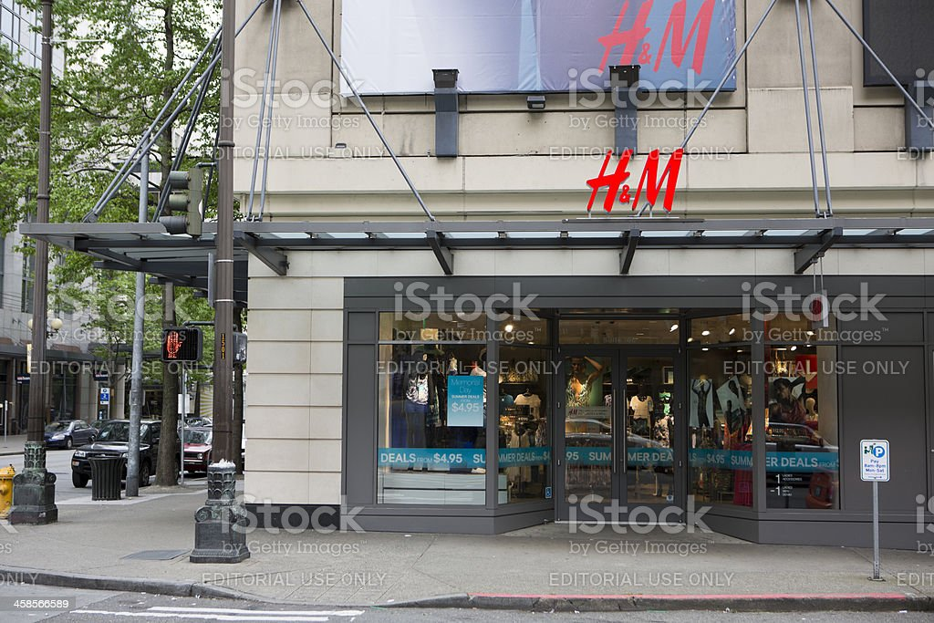 H&M Clothing Store Downtown Seattle stock photo