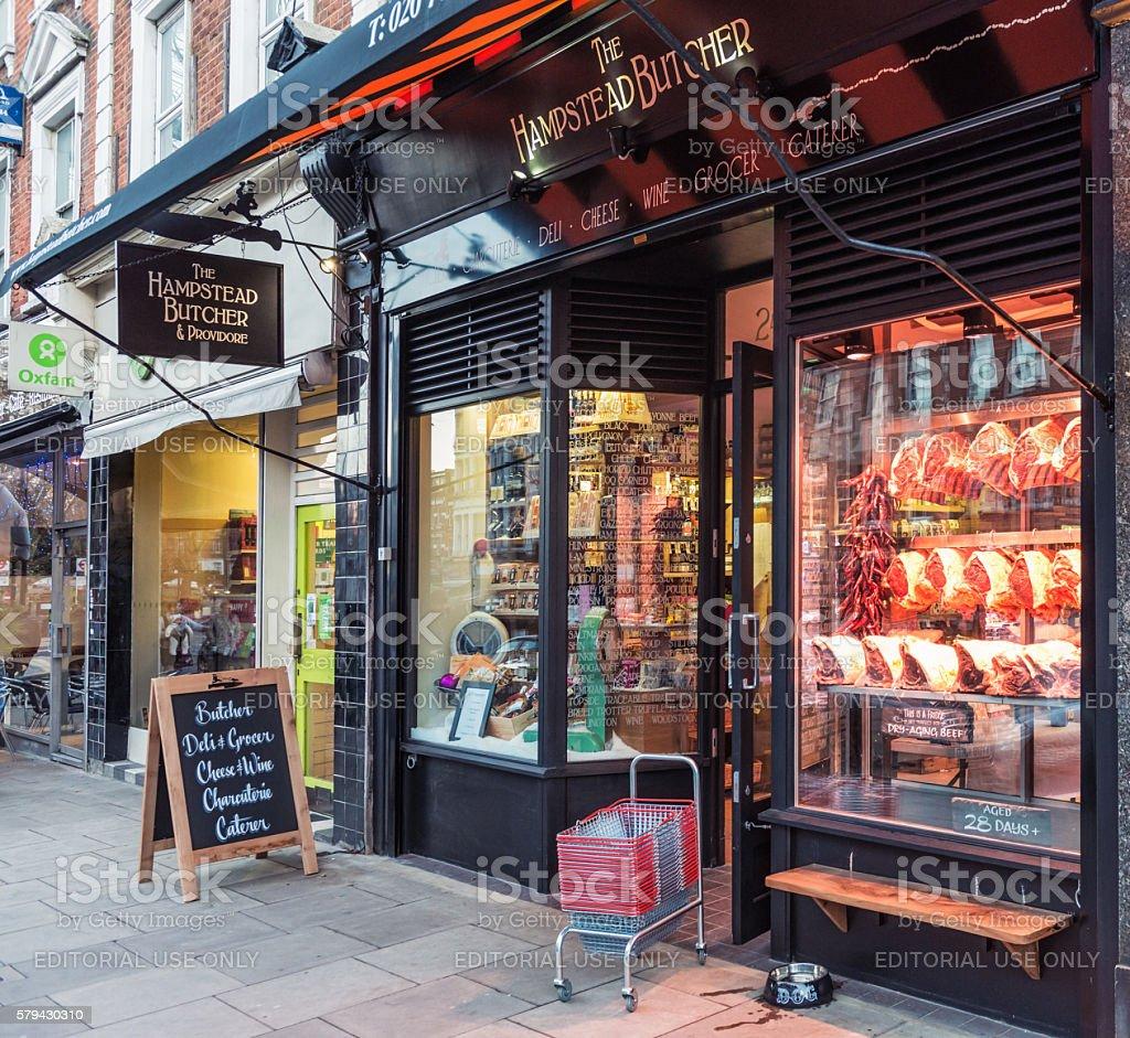 Hampstead Butcher in London stock photo