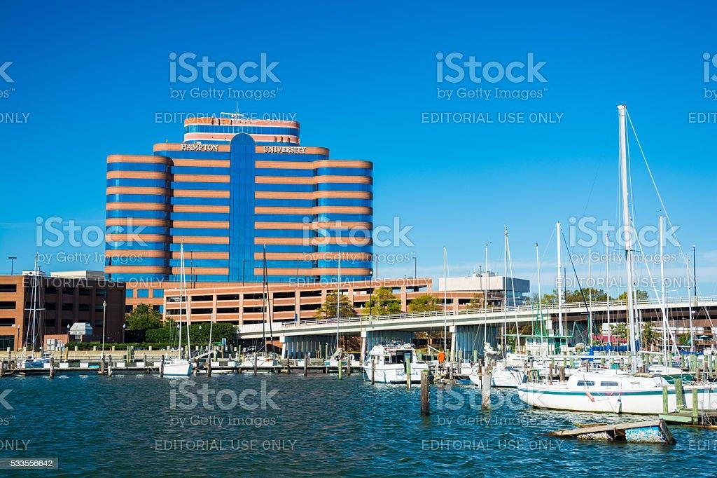 Hampton, Virginia including highrise building and marina stock photo