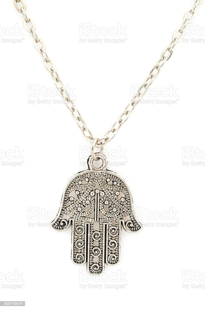 hamsa amulet pendant isolated on white stock photo