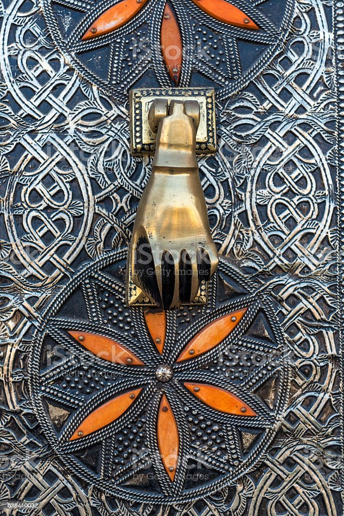 Hamsa door knocker stock photo