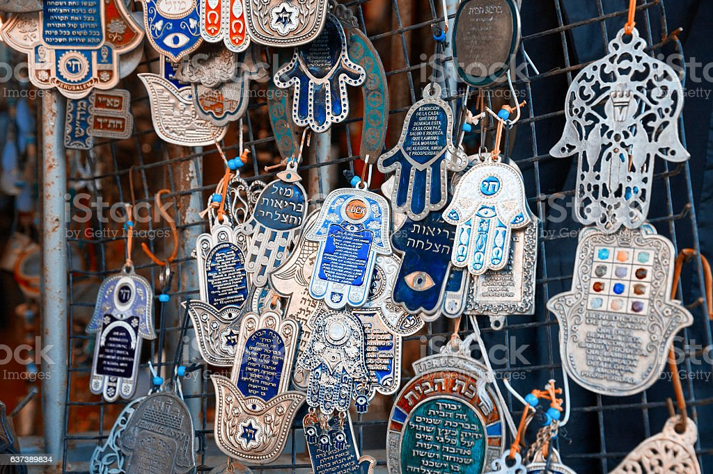 Hamsa- Hands of Fatima- at the flea market stock photo