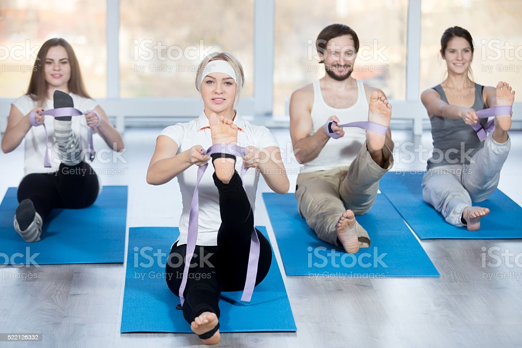 Hamstring stretch exercise stock photo