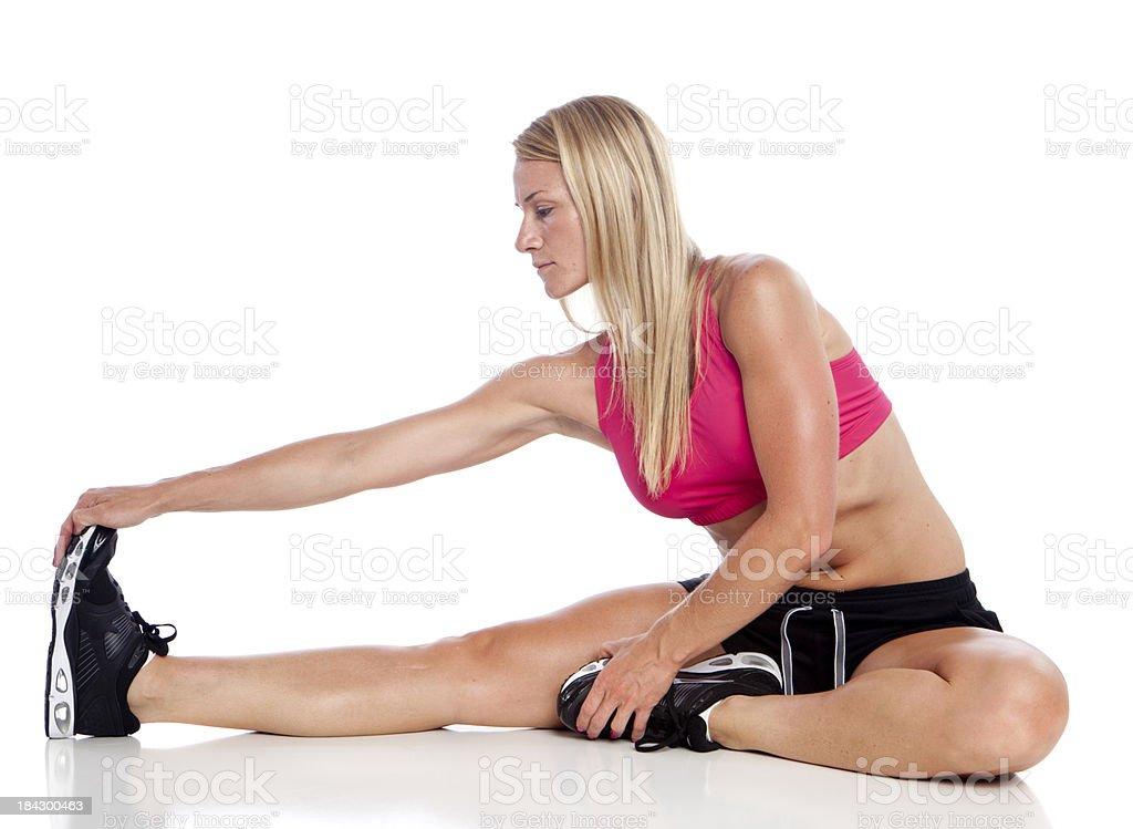 hamstring stretch stock photo