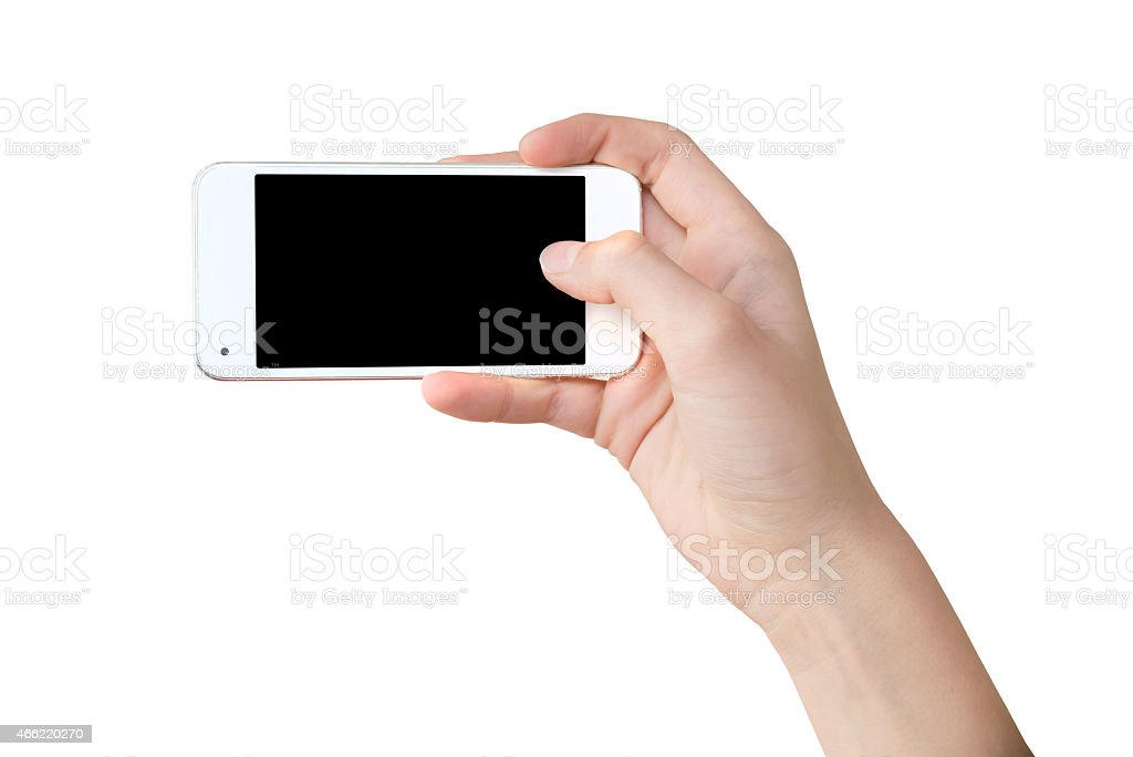 Han holding a phone as for a selfie, blank screen stock photo