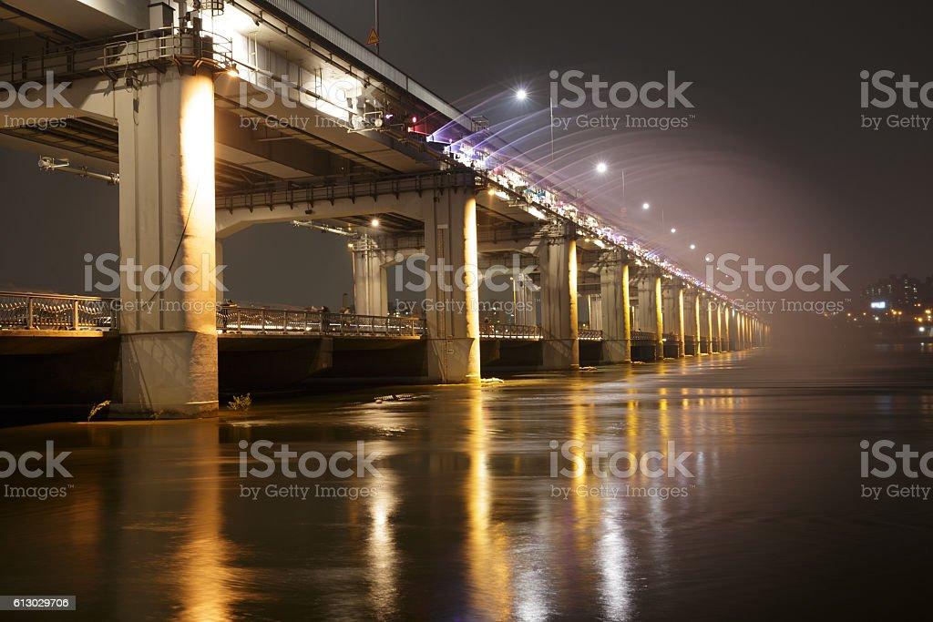 Han River and Bridge in Seoul at nighe, South Korea. stock photo