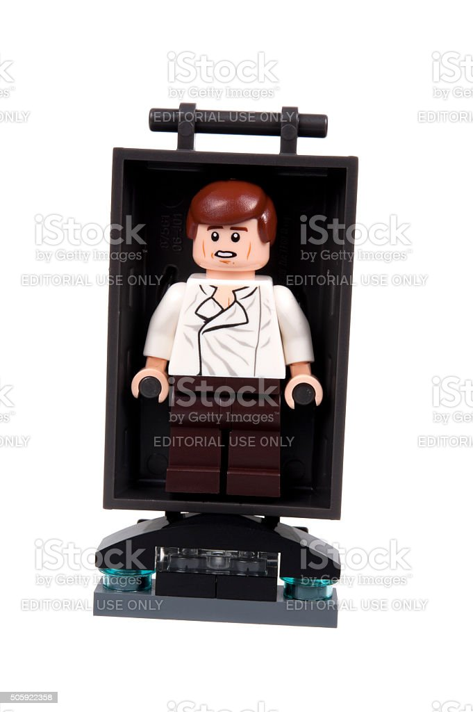 Han Solo in carbonite freeze bed Lego Minifigure stock photo