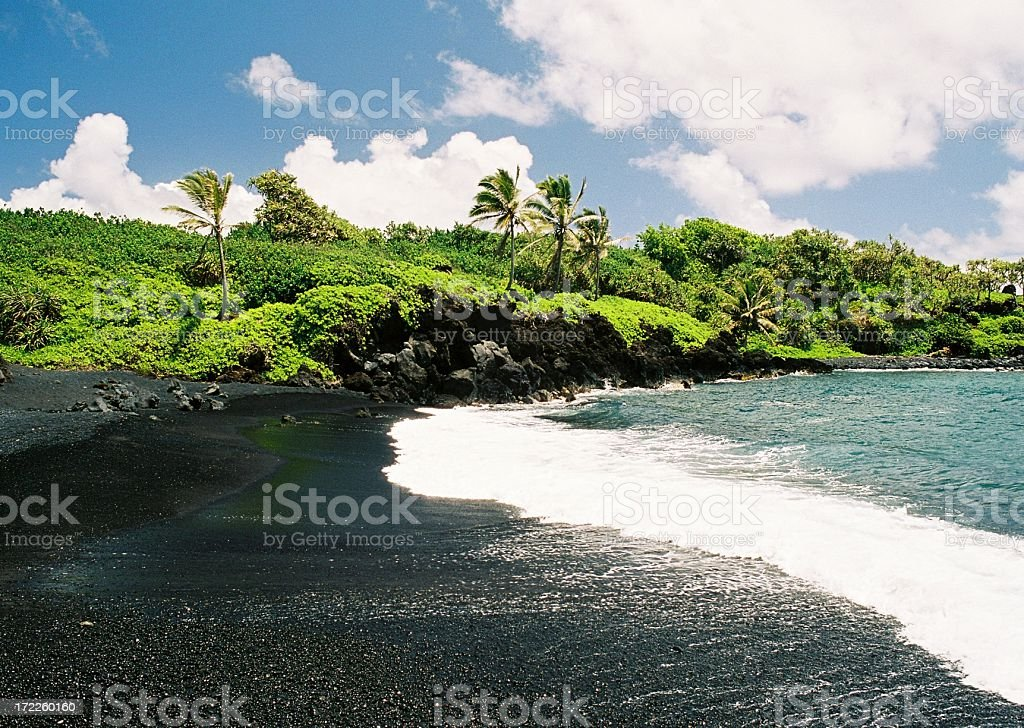 Hana Maui Hawaii Black sand beach at Waianapanapa State Park stock photo