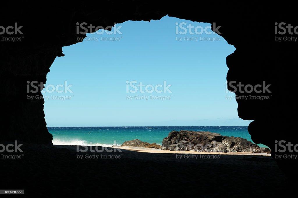 Hanakapi'ai Beach cave stock photo