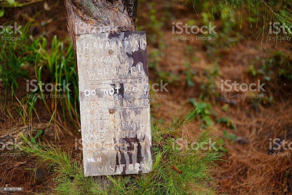 Hanakapiai beach warning sign stock photo