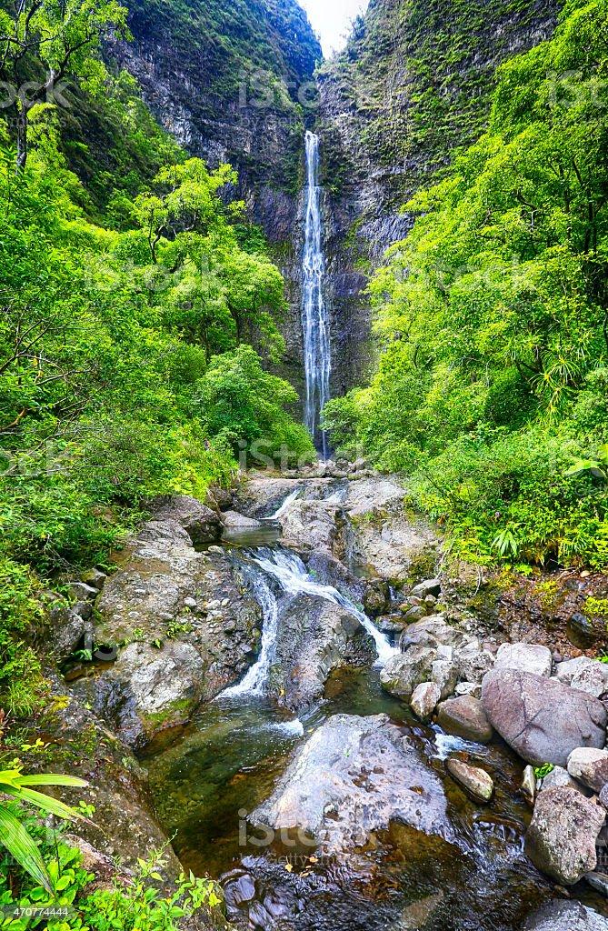 Hanakapi'ai Falls, Na pali coast, Kauai, Hawaii stock photo