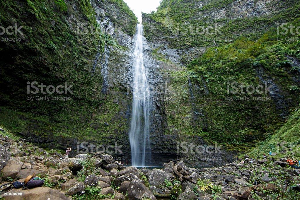 Hanakapiai Falls (NaPali Coast, Kauai) stock photo