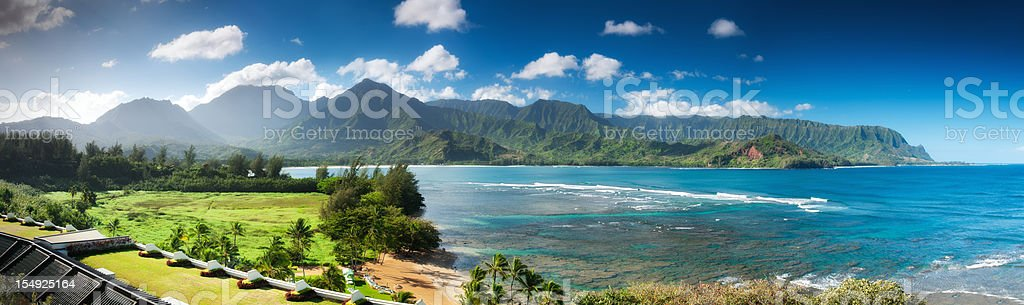 Hanalei bay and Emerald Mountains Pano, Kauai, Hawaii. stock photo