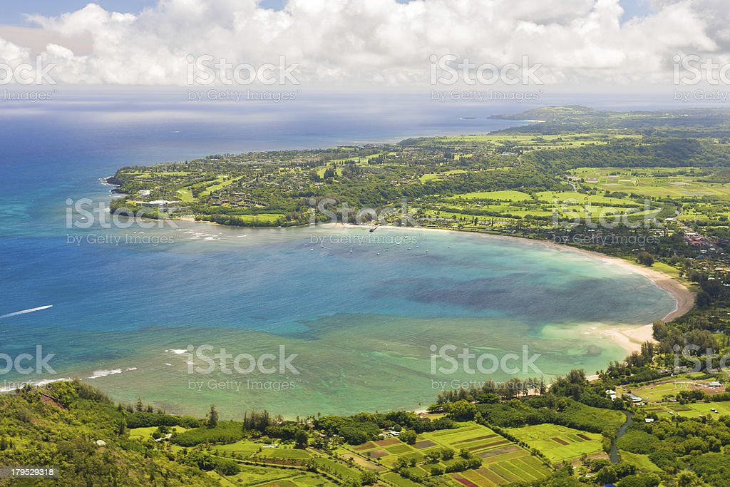 Hanalei Bay on Kauai island stock photo