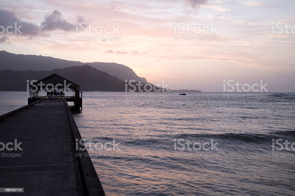 Hanalei Bay Pier And Bali Hai At Dusk royalty-free stock photo