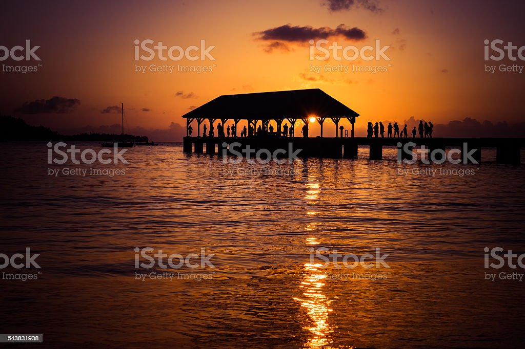 Hanalei Pier at Sunset (wide) stock photo
