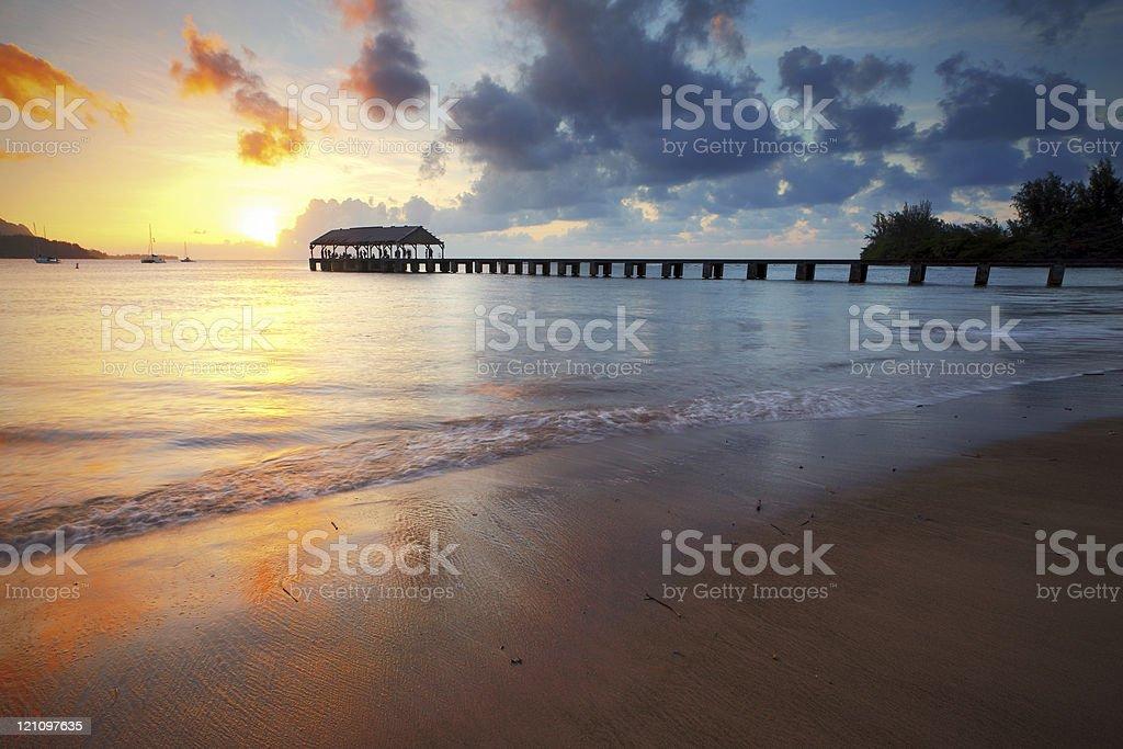 Hanalei Pier stock photo