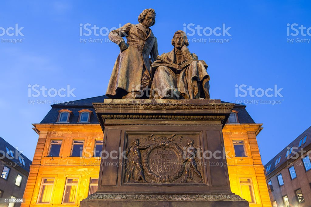 hanau germany grimm statue in the evening stock photo
