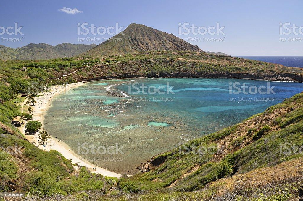 Hanauma Bay beach and coral reef, Oahu, Hawaii royalty-free stock photo