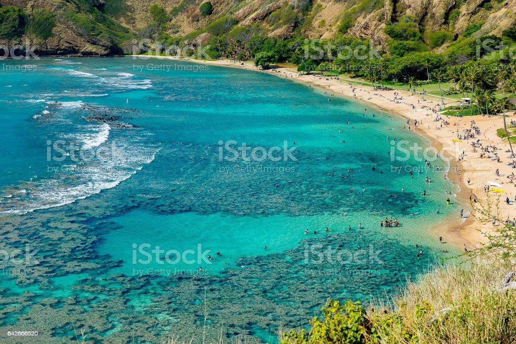 Hanauma Bay in the summer Hawaii stock photo