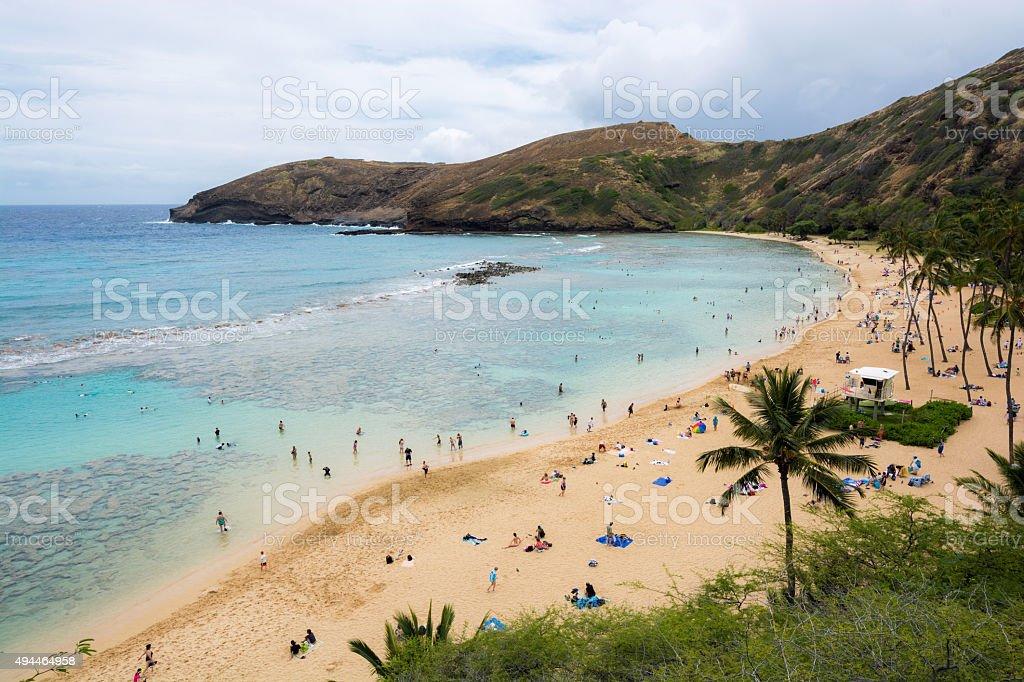 Hanauma Bay on the island of Oahu in Hawaii stock photo