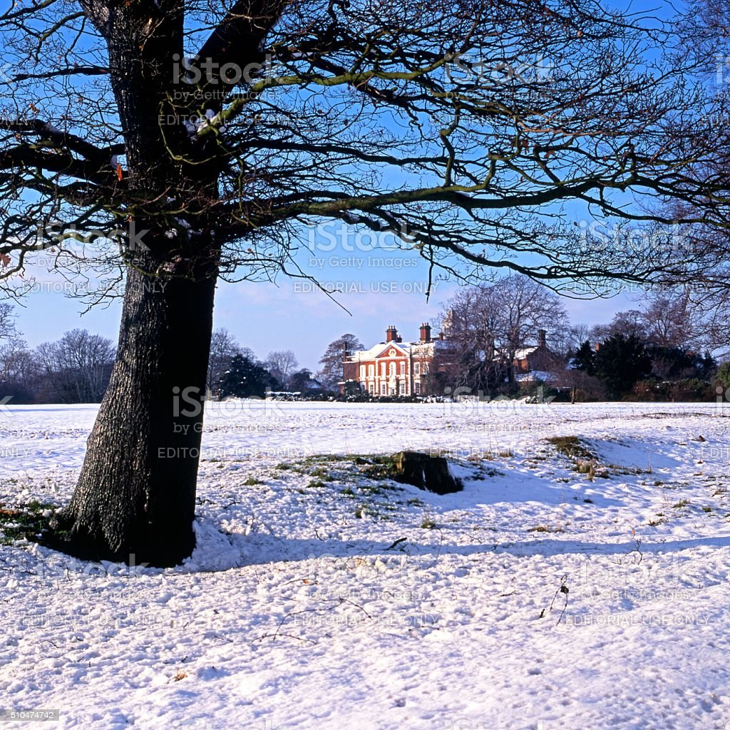 Hanch Hall during the Winter. stock photo