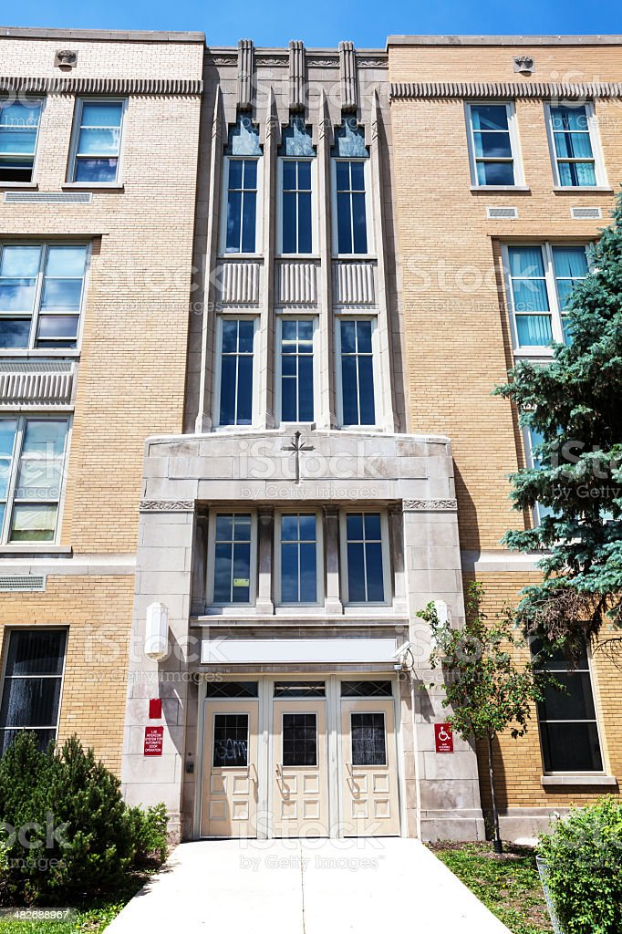 Hancock High School in West Elsdon, Chicago royalty-free stock photo
