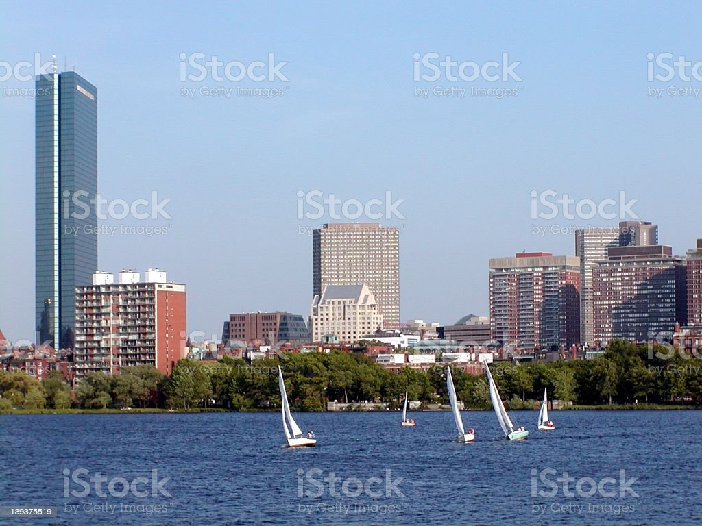 Hancock Tower and Sailboats, Boston, MA royalty-free stock photo