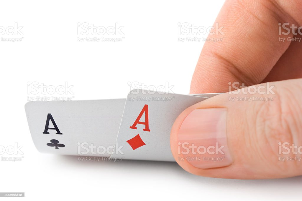 Hand and aces stock photo