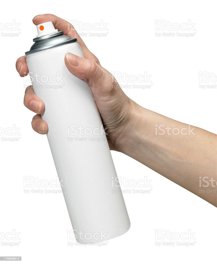 hand and aerosol can royalty-free stock photo