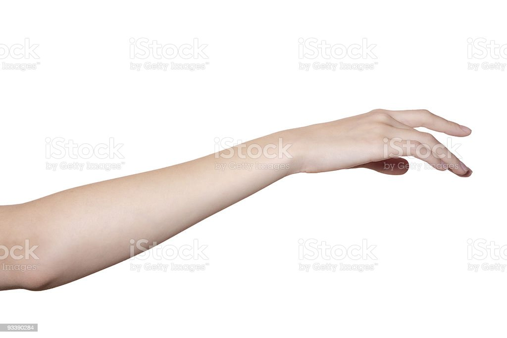 hand and arm isolated on white stock photo
