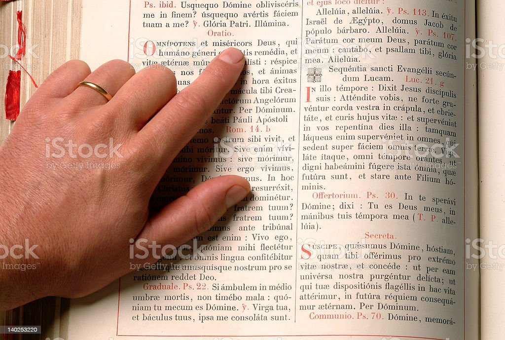 hand and bible royalty-free stock photo