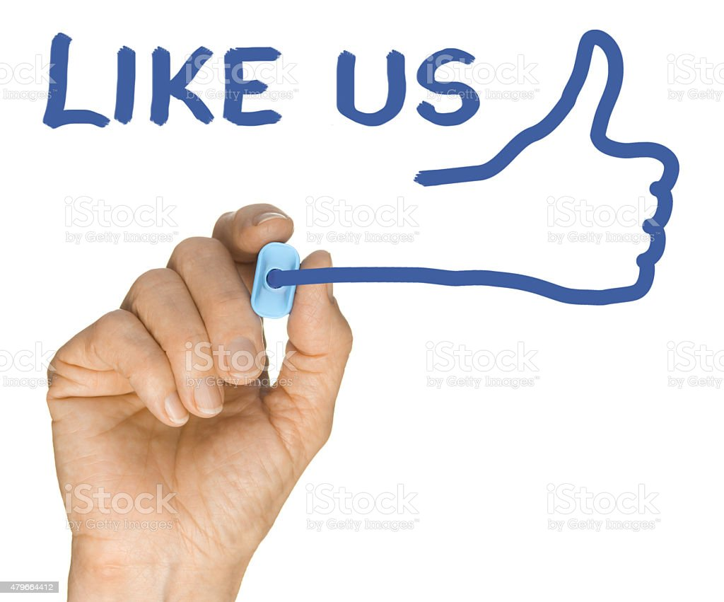 Hand and Blue Highlighter Pen writing Like Us Thumbs Up stock photo