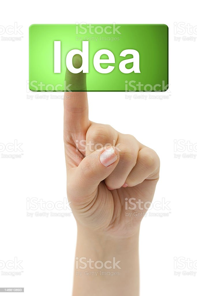 Hand and button Idea royalty-free stock photo