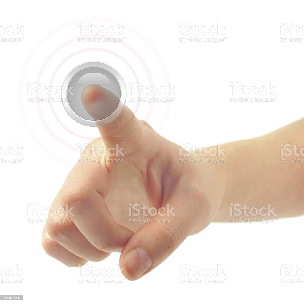 hand and button stock photo