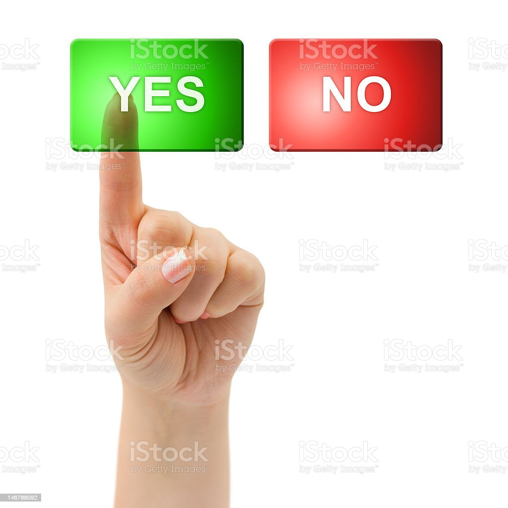 Hand and buttons Yes/No royalty-free stock photo