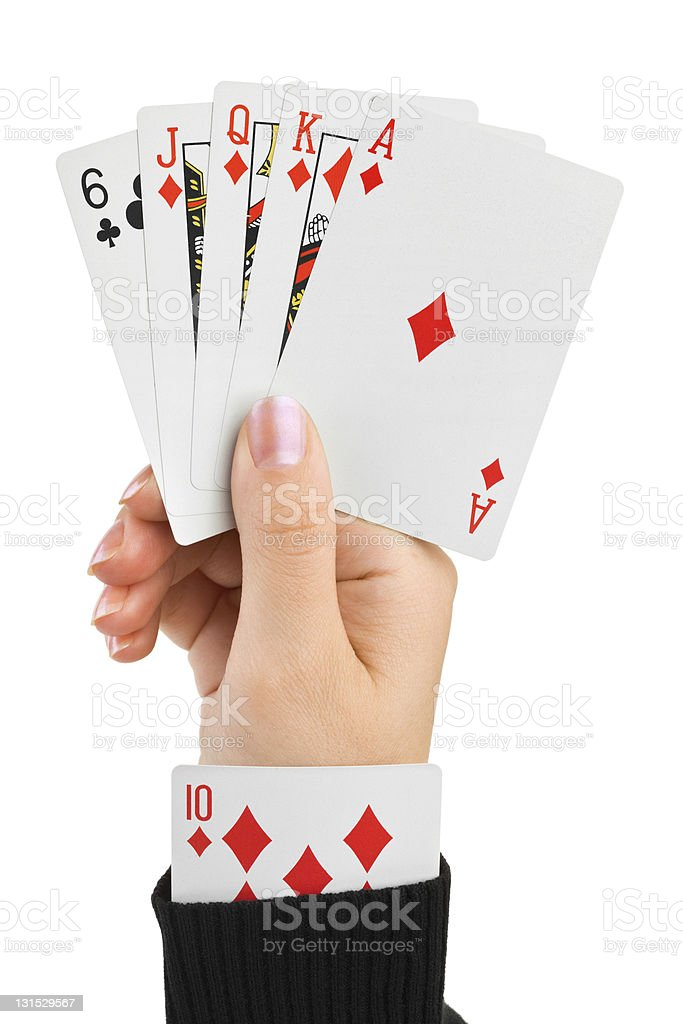 Hand and card in sleeve stock photo