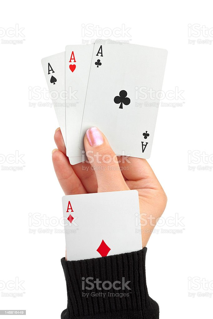 Hand and card in sleeve royalty-free stock photo