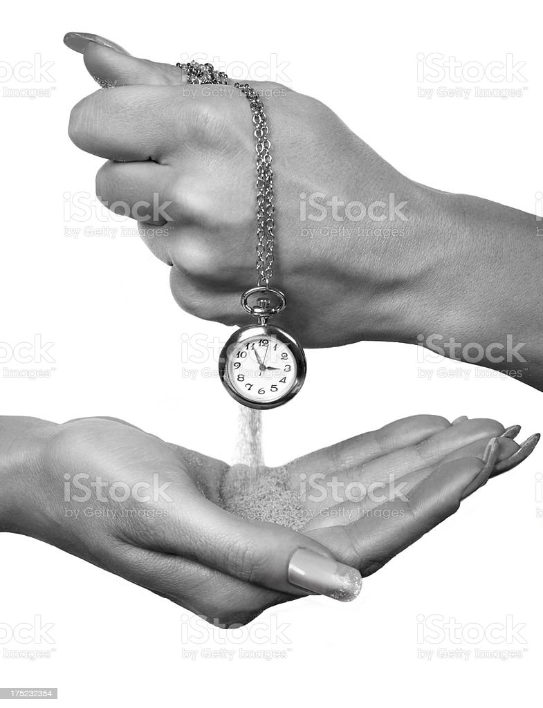 Hand and Clock royalty-free stock photo