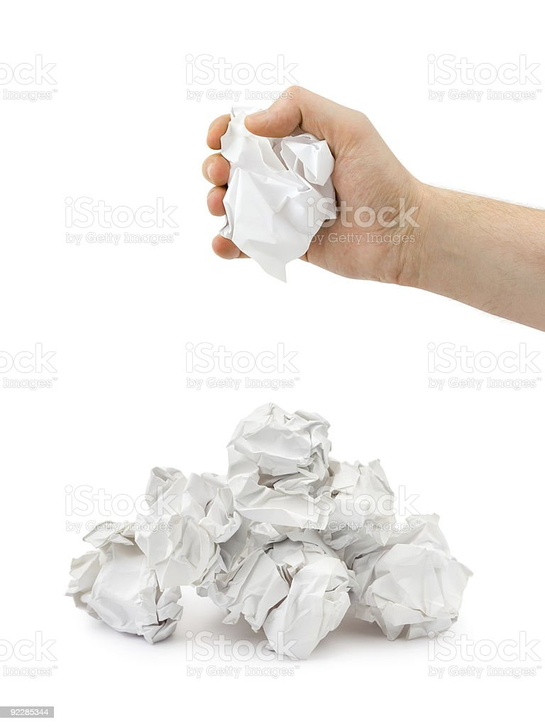 Hand and crumpled paper royalty-free stock photo