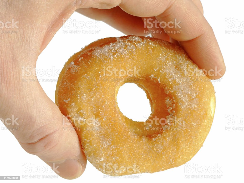 Hand and donut royalty-free stock photo