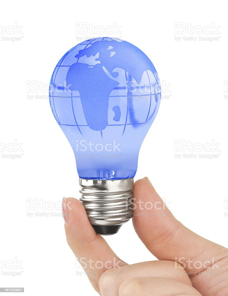 Hand and lamp with globe royalty-free stock photo